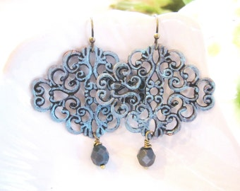 Blue Bohemian Earrings, Patina, Moroccan Style, Rustic, Filigree earrings, Redpeonycreations