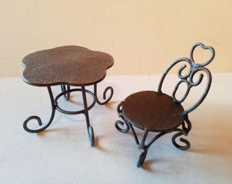 Bear or doll metal chair and table