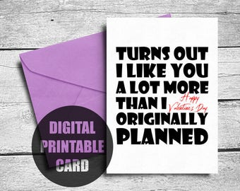 Printable Valentines Card | Funny Valentine Card | Valentines Card Him | I Like You Lot Card | Valentine Card Husband | Valentines Card Wife