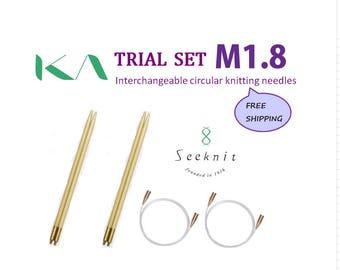 Trial Set, KA Seeknit Interchangeable Circular Knitting Needles M1.8, Interchangeable, Bamboo, Knitting needles, Made in Japan