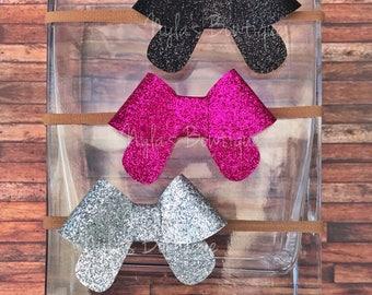 Infant Headbands, Glitter Bow Headbands, Nylon Headbands, Baby Headbands, Small Bow Headbands, Newborn Photo Prop