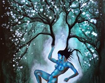 Original Painting Woman Tree Wall Art by artist Rafi Perez Mixed Medium on Canvas 18X24