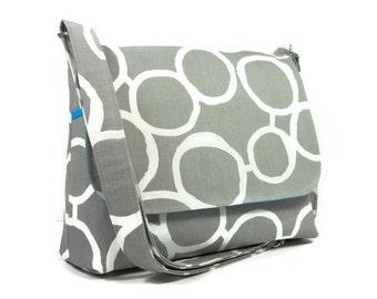 Gray Messenger Bag for Women, Medium Cross Body Bag, Gray Cotton Crossbody Purse, Fabric Purse, Shoulder Bag, Fabric Pocketbook, Handbag