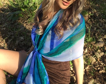 Seascape Hand Painted Silk Satin Trimmed Shawl, Women's Fashion, Travel Accessory, Art to Wear Original, Designer Style