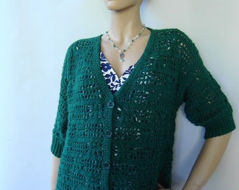 Alpaca Cardigan, Crochet Cardigan, Green Sweater, Cardigan Women, Cardigan Sweaters, Emerald Green, Gift for Her, Available in sizes M and L