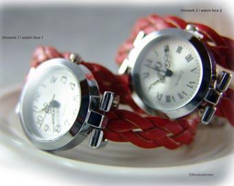 Damen Armbanduhr geflochten Leder Uhr rot silber - Wickelarmbanduhr Wickeluhr Lederuhr - Geschenk für Sie beste Freundin Ehefrau Mutter