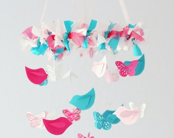 Nursery Mobile Birds & Butterflies in Hot Pink, Light Pink, Turquoise, White- SMALL Size- Nursery Mobile, Baby Shower Gift