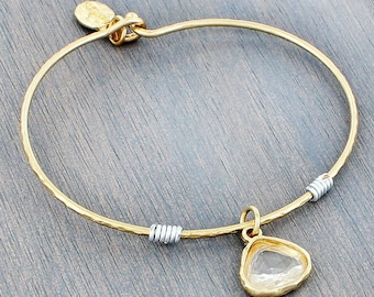 Goldtone Clear Crystal Bangle