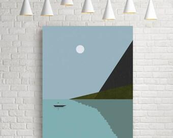 Art prints, minimalist art print, vintage prints, sea print, nautical art print, sea poster, art prints vintage, nautical poster, lake