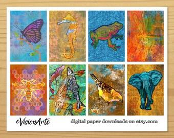 Animal Gift Tags, Animal Art Tags, Printable Gift Tags, Animal Tags, Elephant Tag, Frog Tag, Dragonfly Tag, Digital Download