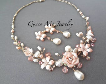 Yellow Gold freshwater pearl wedding jewelry set Mauve Champagne Crystal Porcelain flowers Freshwater pearl bridal jewelry set GORGEOUS
