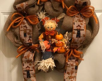 Thanksgiving wreath, Fall wreath, Autumn wreath, Front door thanksgiving wreath, Home decor wreaths, Office decor wreaths