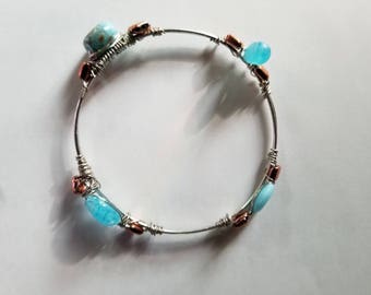 Silver and Turquoise Bangle Bracelet Handmade Silver Bracelet Turquoise Jewelry Gifts Her Birthday Gift Anniversary blue jewelry silver