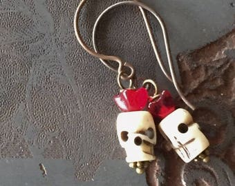 La Calavera Catrina Earrings with Hand Carved Bone Skulls on Artisanal Ear Wires - El Dia de los Muertos