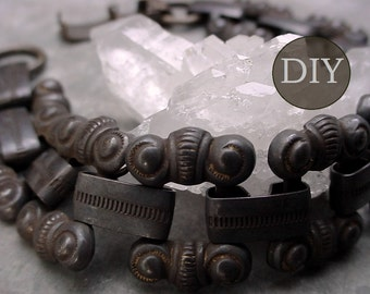 DIY KIT Vintage Brass Bracelet Choker Necklace Collar Large Old Chain Clasp Oxidized Aged Dark Patina Brown Black Brass Jewelry Finding 10B+