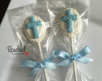 12 Chocolate Cross Oval Lollipops Religious Holy Communion Party Favors Baptism Christening