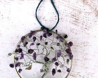 Amethyst Suncatcher, Suncatcher for Windows, Amethyst Tree of Life, Purple Gem Tree