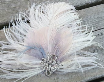 Bridal feather hair clip, wedding accessories, feather fascinator,  feather hair clip,  ivory silver blush pink,  ivory bridal hair comb