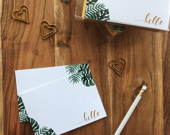 Palm Leaves Hello Notecards | Stationery set