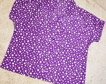 Purple Polka Dot Blouse / XL Extra Large