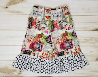 Girls 3T Ruffle Pants / Capris - Paris Print