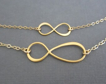 Gold Infinity Necklaces. Mother Daughter Necklaces.Gold Filled Family Jewelry. 2 Matching Necklaces.Figure 8 Charm. Gold Vermeil Infinity