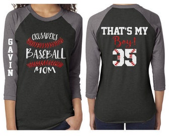 Glitter Baseball Mom 3/4 Sleeve Shirt|Customized Baseball Mom Shirt