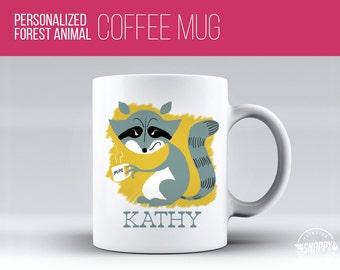Personalized Raccoon Coffee Mug - Cup, Dishwasher and Microwave Safe, Custom Name Ceramic Mug, Original Artwork, Printed on BOTH sides