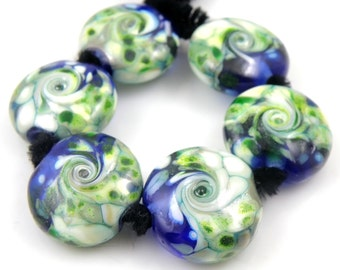 Peppermint Swirls SRA Lampwork Handmade Artisan Glass Lentil Beads 18mm Made to Order Set of 6