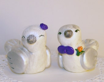 Wedding Cake Topper - Love Birds Vintage Style - Choice of Colors