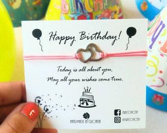 Make a Wish bracelet, Heart bracelet, Steel bracelet, Love,Dream a dream, Happy Birthday Bracelet, Wish bracelet, Heart, Friendship bracelet