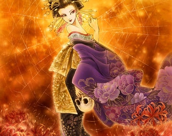 Free Shipping to US - Japanese Folklore Demon Jorogumo - Along Came A Spider - 5x7 Fantasy Art Print - by Mitzi Sato-Wiuff