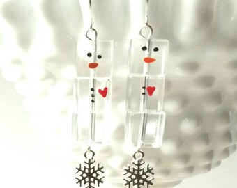 Snowman Ice Cube Earrings