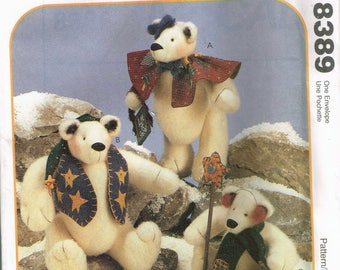 "Craft Sewing Pattern - Teddy Bear Sewing Pattern - Polar Bear Teddy - 12"" Tall Teddy Bear - 9"" Tall Teddy Bear  - McCalls 8389 or P324"