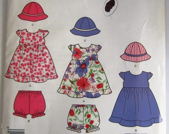 Easy Sew Baby Girls Dress, Panties and Hat Sizes XS S M L (Hat in 3 Sizes) It's So Easy Simplicity Pattern 2425 UNCUT