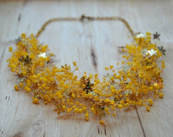 Snowflake Necklace, Gold, Yellow Jewelry, Handmade Beadwork Jewellery, Gift for sister in law, Womens gift, Wedding necklace, Fashion item