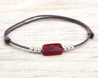 cord bracelet rectangle red agate and 925 Silver beads