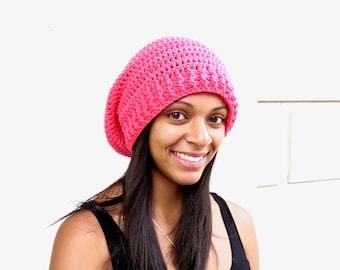 Crochet Slouchy Hat, Women, Men, Teen, Slouch Hat, Tam,  Adult, Hot Pink, Ribbed,