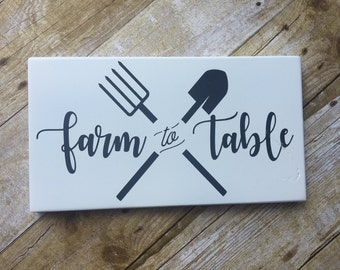 Farmhouse Decor / FARM TO TABLE / Black & White wood sign, sign, Farm House Decor