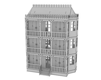 Three-story Victorian Dollhouse, dollhouse,Wood dollhouse, Dollhouse kit, Natural dollhouse, Modern dollhouse, Wooden doll house, Scale 1:12