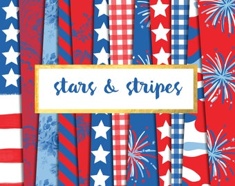 Stars and Stripes Digital Paper Pack (Instant Download)  fireworks, red, white, blue, July 4th, patriotic, American flag, stars, gingham