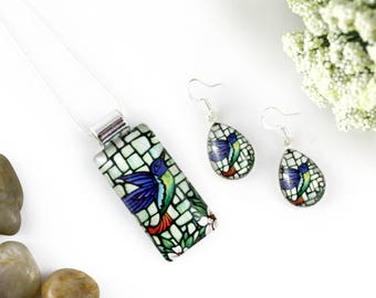 Hummingbird Necklace & Earrings Set - Handmade Jewelry Set - Glass Pendant - Stained Glass Floral Jewelry - Art Nouveau - Hummingbird Art