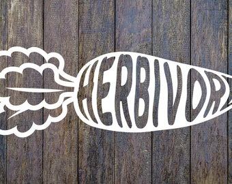 Herbivore Carrot Veggie Vinyl Decal Sticker