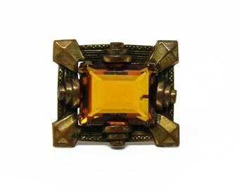 Antique Art Deco Citrine Glass & Brass Brooch