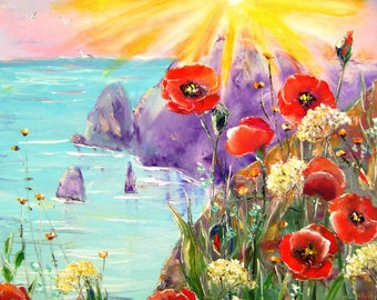 Oil painting. Poppies by the sea. 50x60 cm.