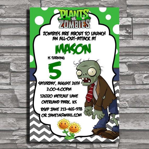Plantas vs Zombies cumpleaños invitaciones plantas vs Zombies