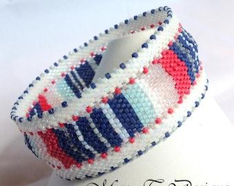 Holiday Sale! Pink, Blue and White Striped Bangle Bracelet...EBW Team...Pink, Blue, White
