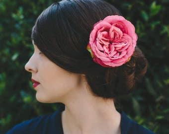 Pink Rose Hair Clip, Pink Rose Hair Flower, Pink Rose Hair Accessory, Pink Hair Flower, Pink Floral Hair Clip, Vintage Style Hair Flower