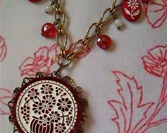 Vintage Redwork Necklace