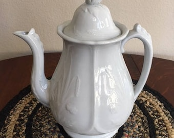 Antique White Ironstone Coffee Pot, Prairie Shape, Circa 1862